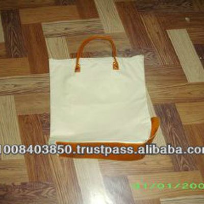 Canvas tote bag with leather ( 03 C/HH)